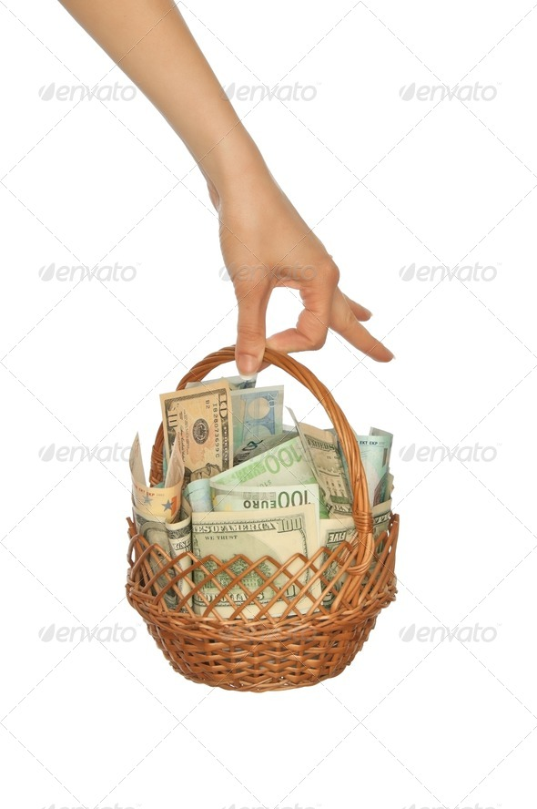 basket with money - Stock Photo - Images