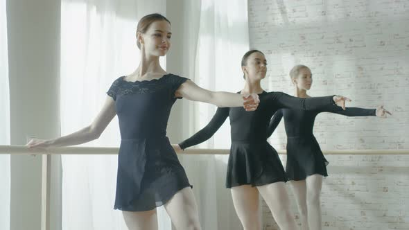 VideoHive Three Young and Beautiful Ballerinas Practicing their Dance at the Barre 19473656