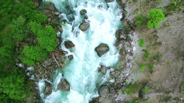 Download Aerial View Above Mountain River nulled download