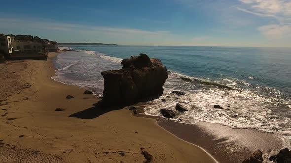 VideoHive Deserted Wild El Matador Beach Malibu California Aerial Ocean View Waves with Rocks 19000181