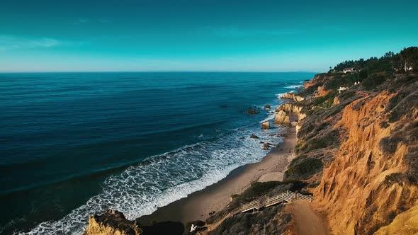 VideoHive Deserted Wild El Matador Beach Malibu California Aerial Ocean View Waves with Rocks 19000182
