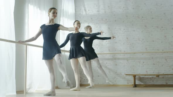 VideoHive Long Shot of Three Amazing Young Ballerinas Doing Morning Stretching Routine Near Bar 19473646