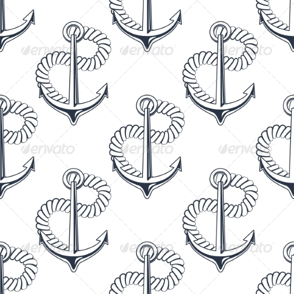 GraphicRiver Marine Anchor with Curling Rope 8469873