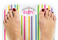 "Feet on bathroom scale with word ""Happy"" on dial - PhotoDune Item for Sale"