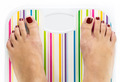 Feet on bathroom scale with blank dial copy-space isolated - PhotoDune Item for Sale