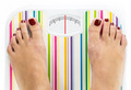 Feet on bathroom scale with clean dial with lines no numbers - PhotoDune Item for Sale
