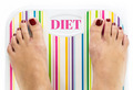 "Feet on bathroom scale with word ""Diet"" on dial - PhotoDune Item for Sale"