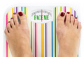"Feet on bathroom scale with words ""Face me"" on dial - PhotoDune Item for Sale"