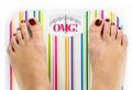 "Feet on bathroom scale with word ""OMG"" on dial - PhotoDune Item for Sale"