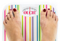 "Feet on bathroom scale with word ""Ouch"" on dial - PhotoDune Item for Sale"