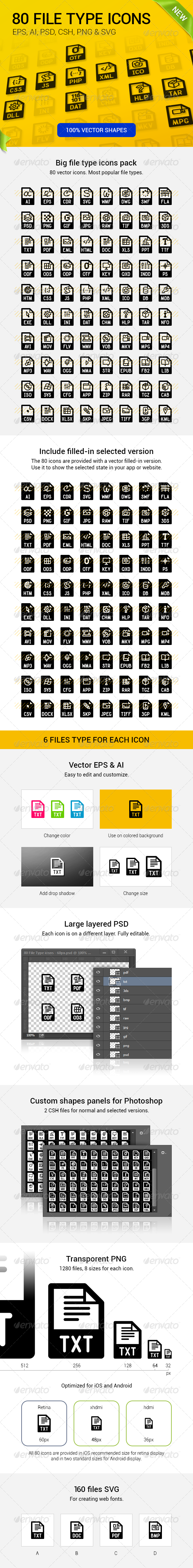 GraphicRiver 80 File Types Icons 8470014
