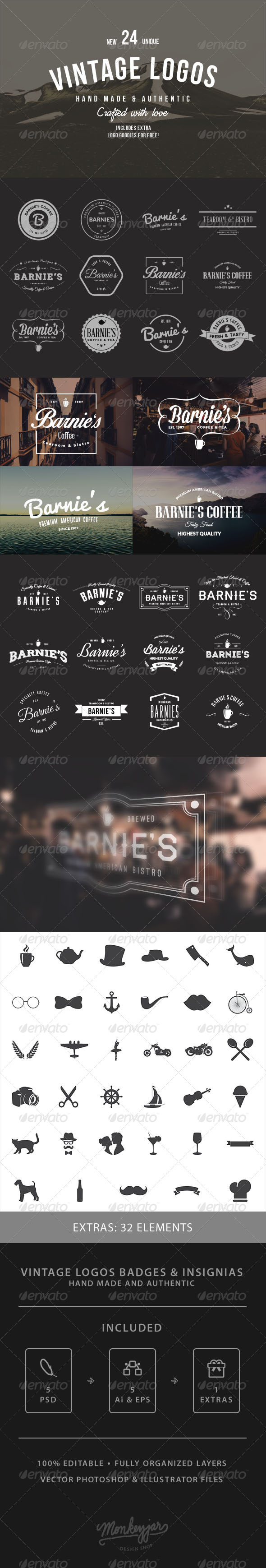 GraphicRiver 24 Old-School Logos & Badges 8470313