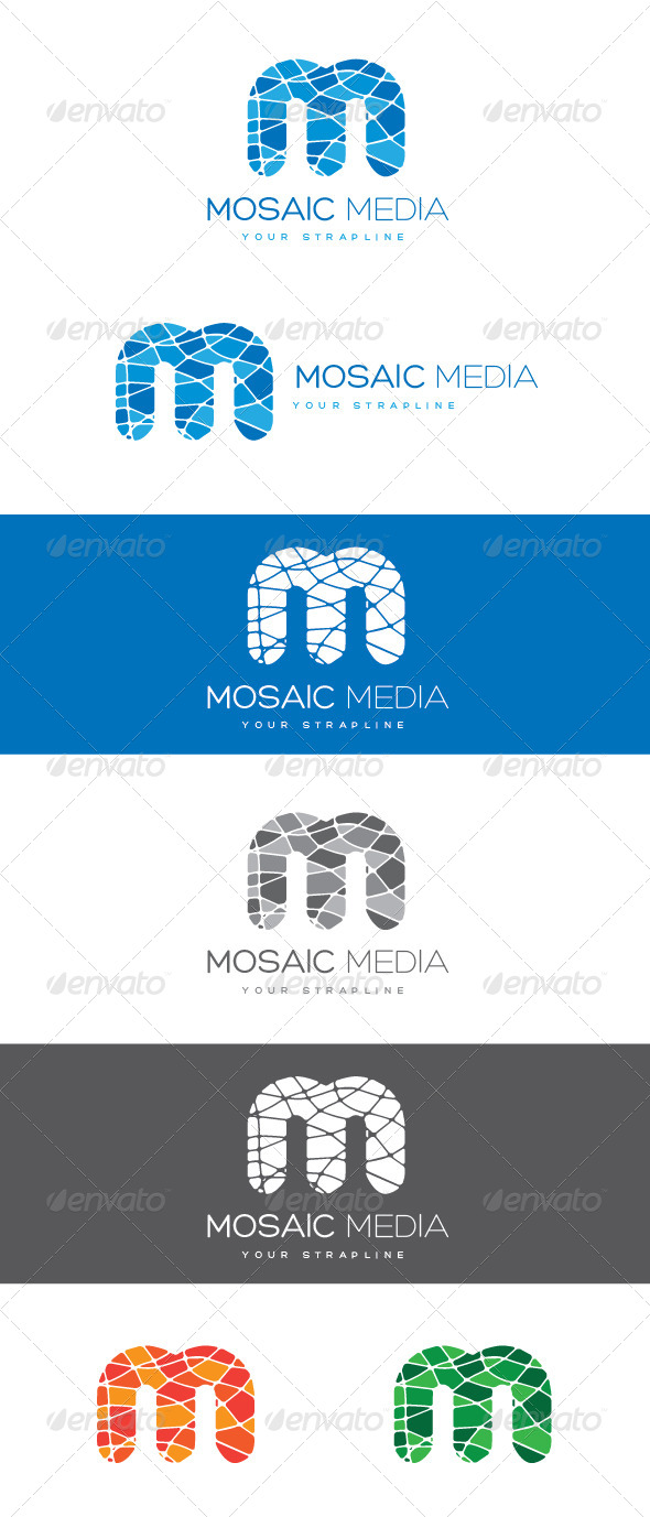GraphicRiver Mosaic Media Letter M Logo 8470327