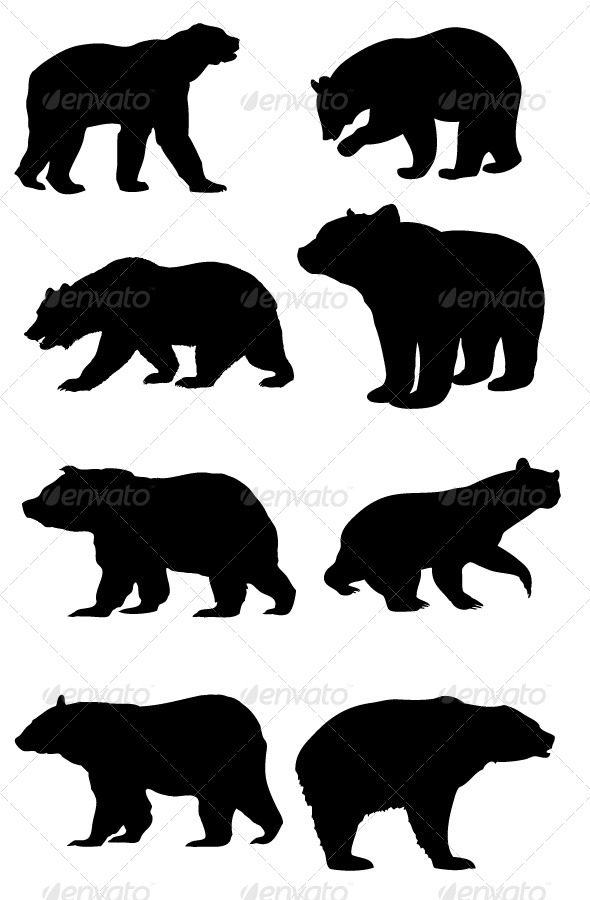 GraphicRiver Bear Silhouettes 8470404