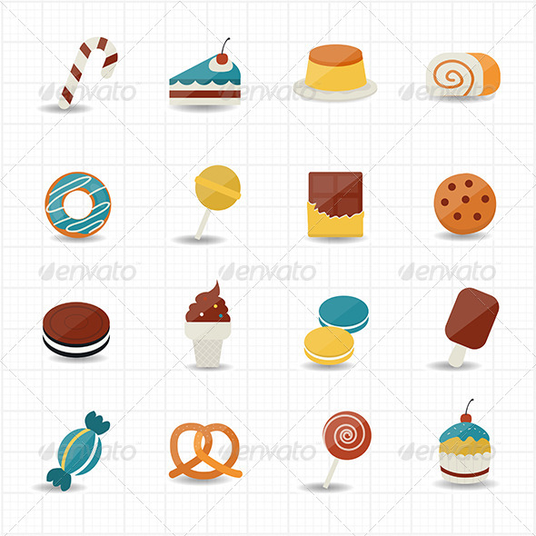 GraphicRiver Sweet Food and Sweetmeat Icons 8470487