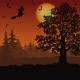 Halloween Landscape with Witch and Trees - GraphicRiver Item for Sale