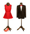 A suit and a formal dress on mannequins with red high heels - PhotoDune Item for Sale