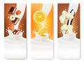 Set of banners with hazelnuts, chocolate, oranges and vanilla falling into milk splashes.  - PhotoDune Item for Sale