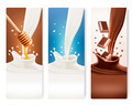 Set of milk, honey and chocolate banners.  - PhotoDune Item for Sale