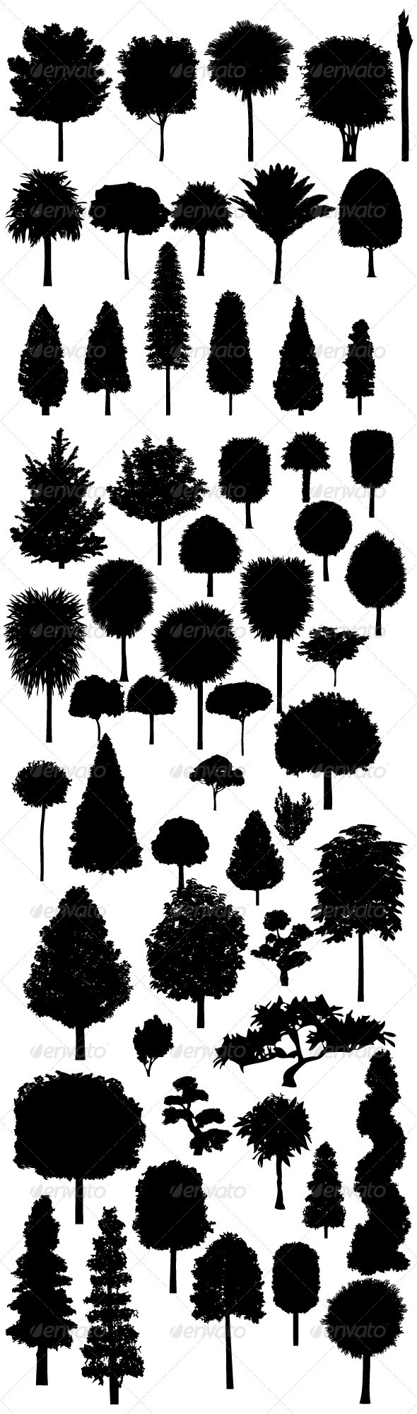 GraphicRiver Tree Silhouettes Big Pack 8470952