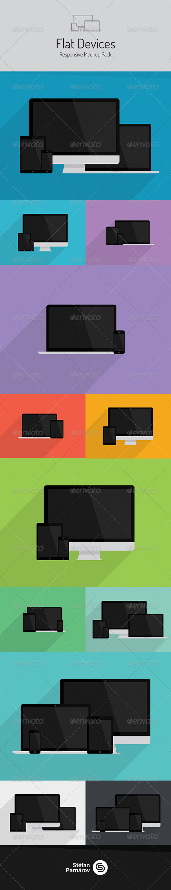 Flat Devices Responsive Mockup Pack