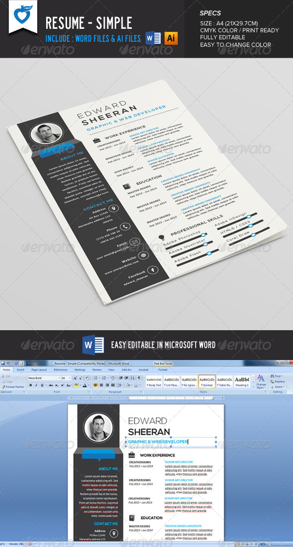 GraphicRiver Resume CV Simple 8471950