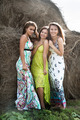 Three beautiful women standing on hay stacks - PhotoDune Item for Sale