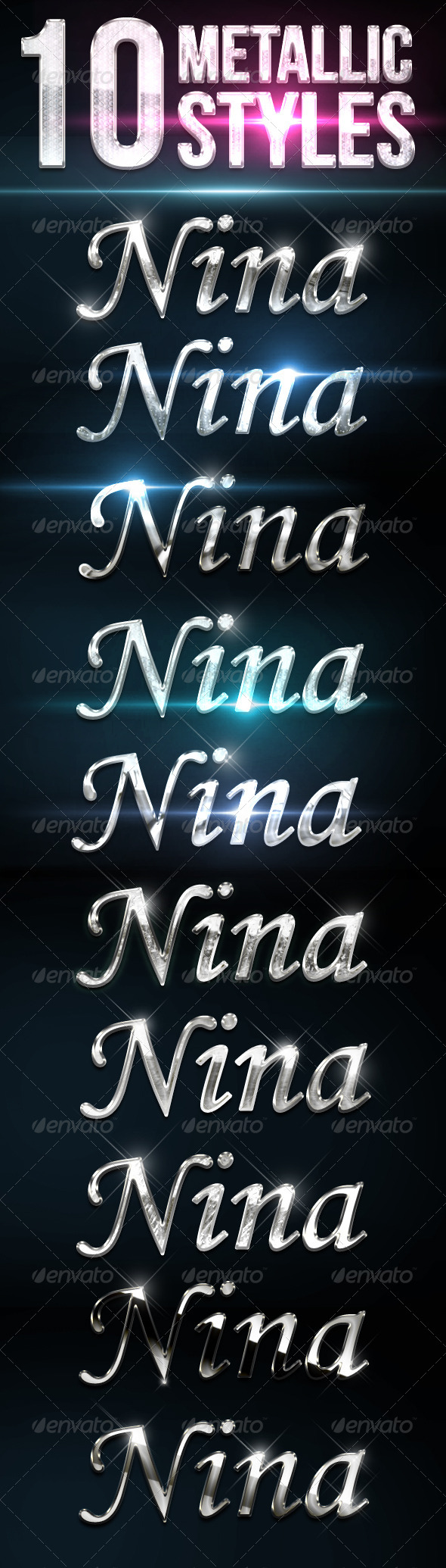 GraphicRiver 10 Metallic And Chrome Text Effects 8472576