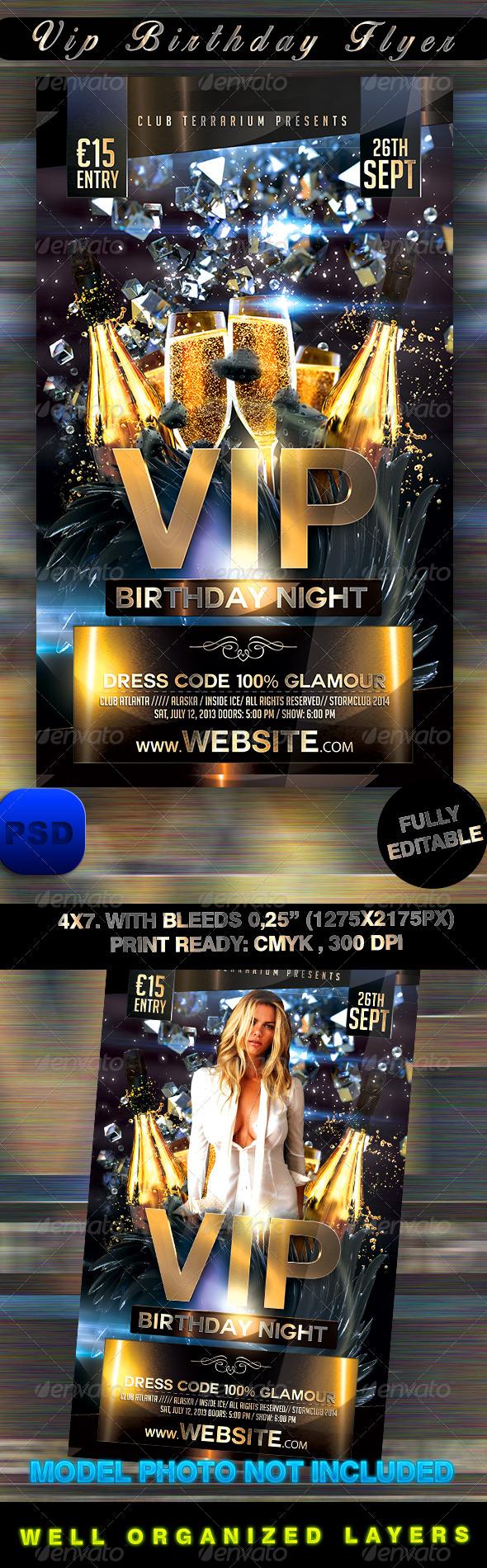 GraphicRiver VIP Birthday Flyer 8472679