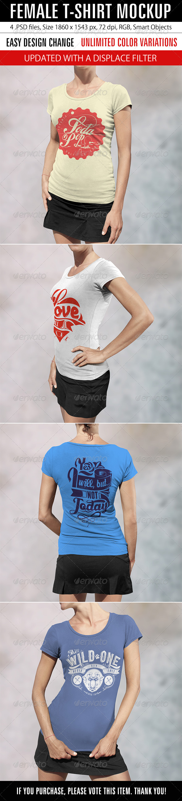 GraphicRiver Female T-Shirt Mockup 8472686