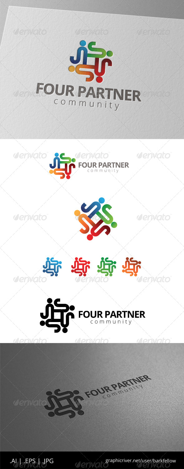GraphicRiver Four People Community Logo 8472865