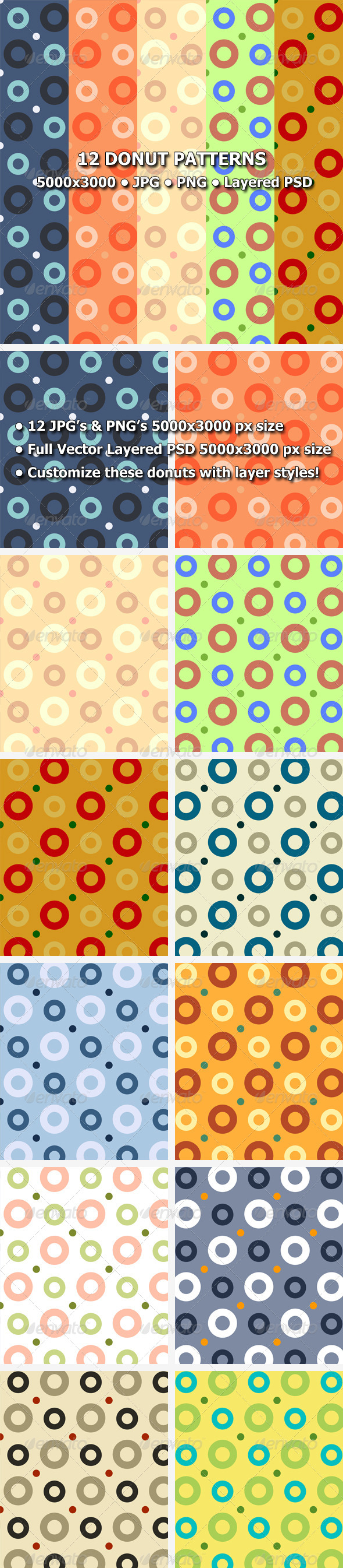 GraphicRiver 12 Donut Patterns 8473066