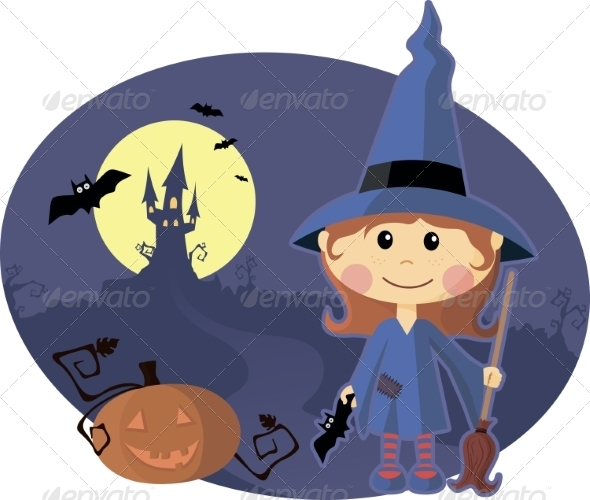 Young Witch with Pumpkin at Halloween Night