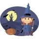 Young Witch with Pumpkin at Halloween Night - GraphicRiver Item for Sale