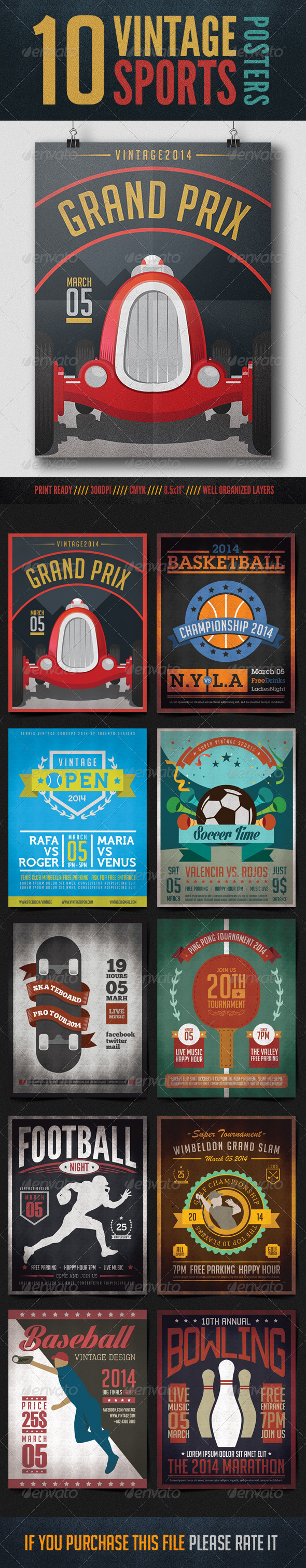 GraphicRiver 10 Vintage Posters Sports 8473486