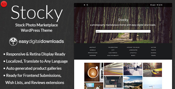 Create A Stock Photography Marketplace Built on WordPress and Easy Digital Downloads, Stocky allows you to sell your photos just the same as any giant online m
