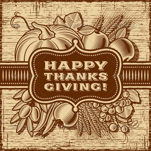 GraphicRiver Happy Thanksgiving Retro Card Brown 8474304