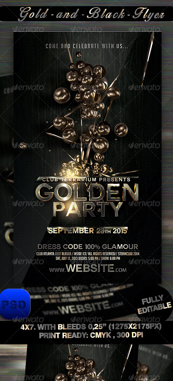GraphicRiver Gold and Black Flyer Template 8474953