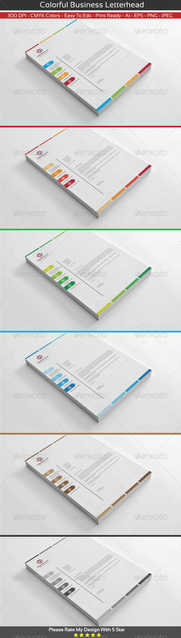 GraphicRiver Colorful Business Letterhead 8469499