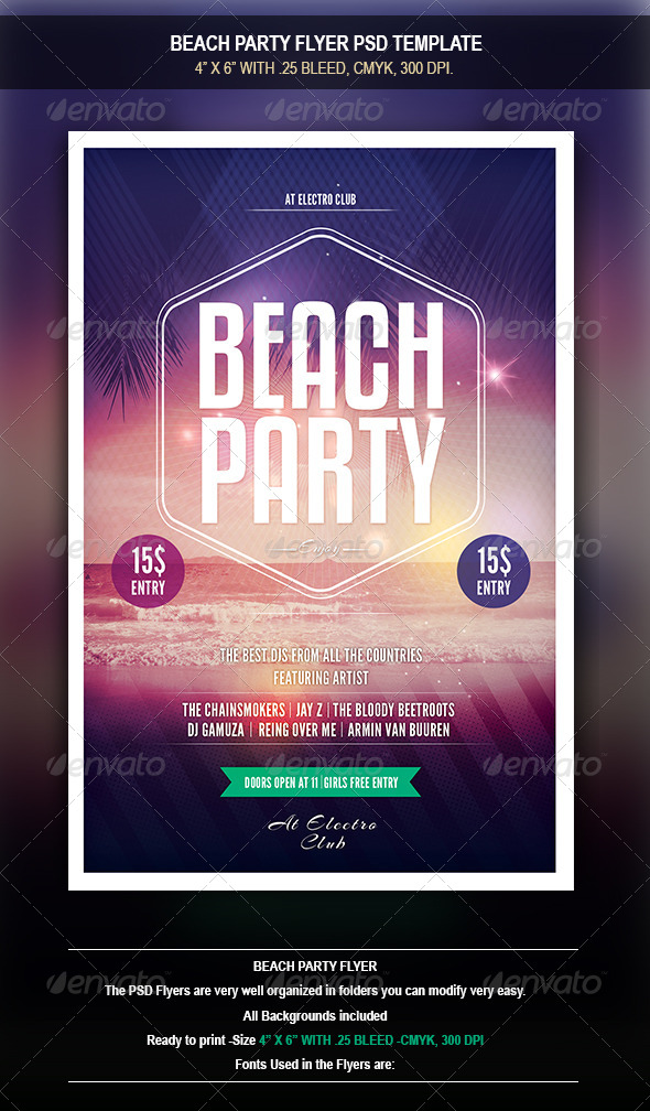 GraphicRiver Beach Party Flyer 8476844