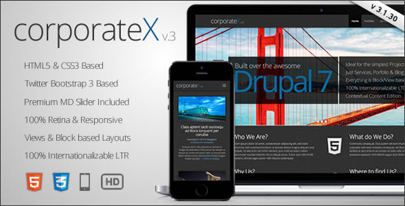 Corporate X - Bootstrap 3 Business Drupal Theme - Drupal CMS Themes