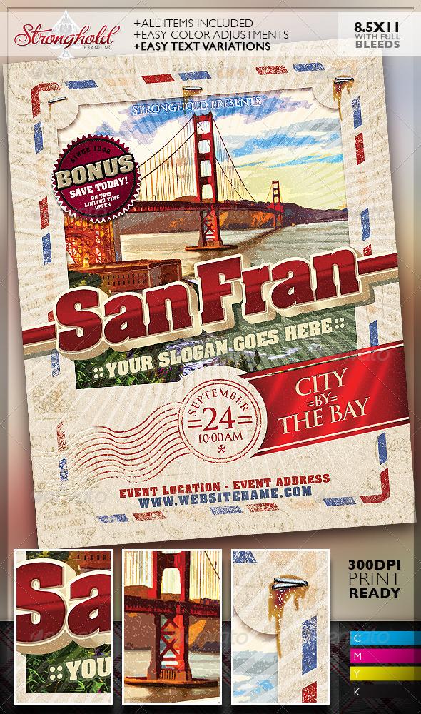 GraphicRiver Vintage Travel Postcard Poster Template 8468693