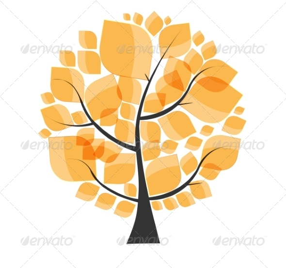 GraphicRiver Beautiful Autumn Tree on a White Background Vector 8486309