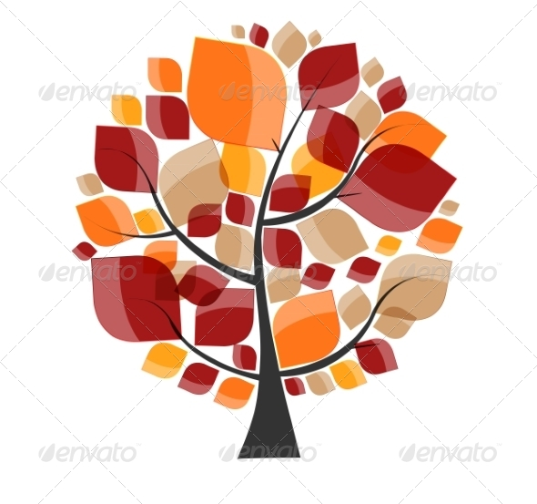 GraphicRiver Beautiful Autumn Tree on a White Background Vector 8486313