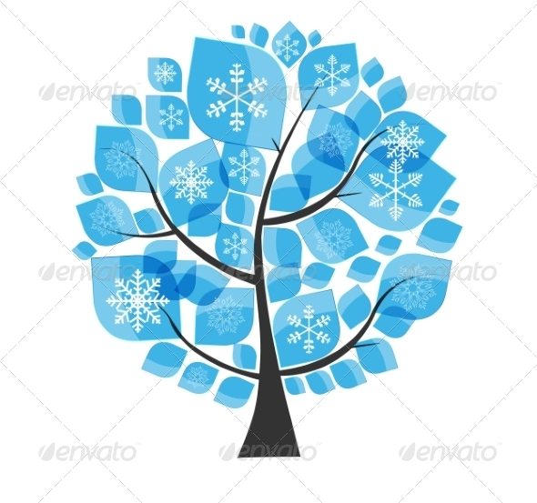 GraphicRiver Beautiful Blue Winter Tree with Snowflakes 8486317