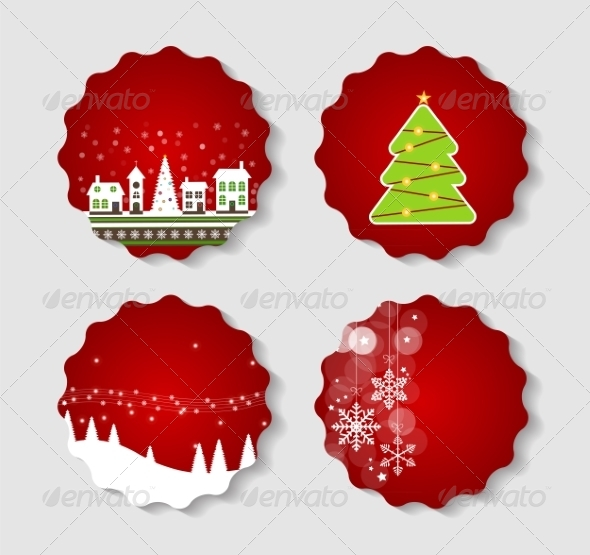 GraphicRiver Set of Labels with Christmas BALLS Stars and Snow 8486326