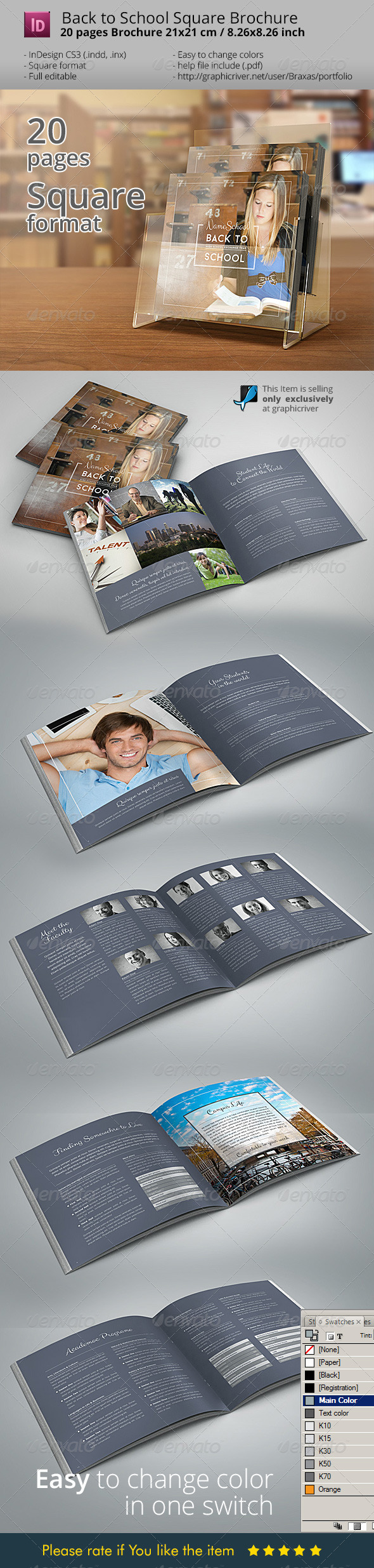 GraphicRiver Back To School Square Brochure 8486753