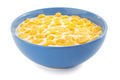 corn flakes and milk in bowl on white - PhotoDune Item for Sale