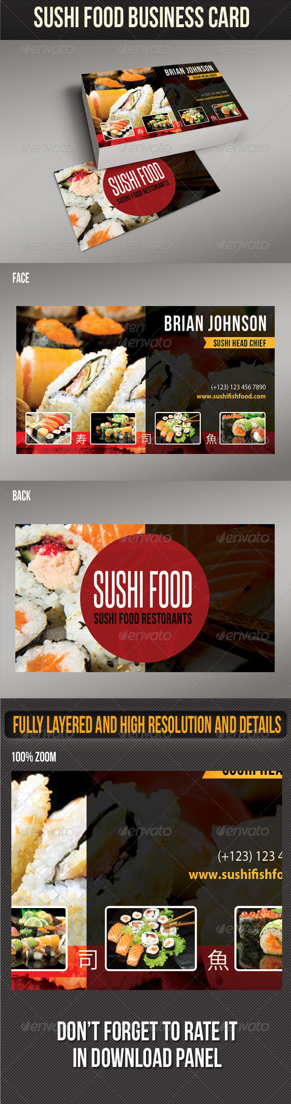 GraphicRiver Sushi Food Business Card 02 8473769
