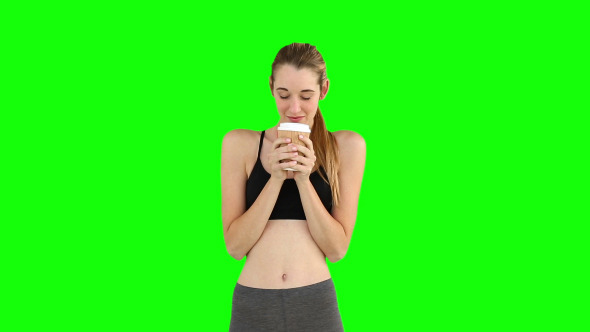 Fit Model Drinking From Disposable Cup 1